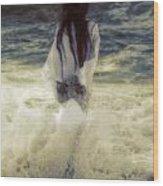 Girl With Teddy Wood Print