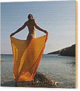 Girl With The Orange Veil Wood Print