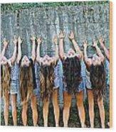Girls And Long Hair Wood Print by Jenny Senra Pampin