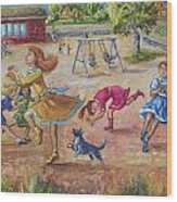 Girls Playing Horse Wood Print