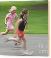 Girls Running Wood Print