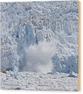 Glacial Ice Calving Into The Water Wood Print