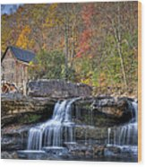 Glade Creek Grist Mill At Babcock Wood Print by Williams-Cairns Photography LLC