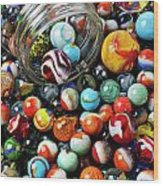 Glass Jar And Marbles Wood Print