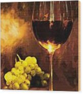 Glass Of Wine And Green Grapes By Candlelight Wood Print