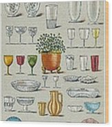 Glassware, Historical Artwork Wood Print by Mid-manhattan Picture Collectionglassnew York Public Library