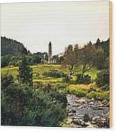 Glendalough Stream And Tower Wood Print