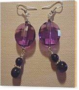 Glitter Me Purple Earrings Wood Print by Jenna Green