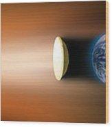 Global Warming Sun Shield, Artwork Wood Print