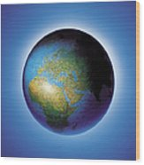 Globe On Blue Background Wood Print
