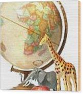 Globe With Toys Animals On White Wood Print