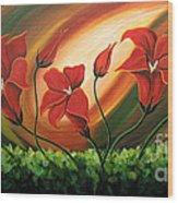 Glowing Flowers 4 Wood Print