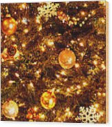 Glowing Golden Christmas Tree Wood Print
