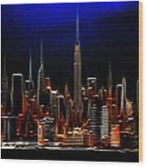 Glowing New York Wood Print