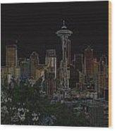 Glowing Seattle Skyline Wood Print