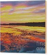 Glowing Skies Over Crews Lake Wood Print