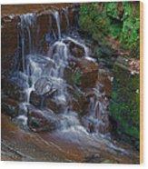 Gnoll Cascades Wood Print by Julie L Hoddinott