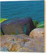 Goa Sea Front Rocks Wood Print