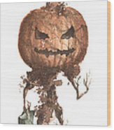 Goblin Tree Trick Or Treat Wood Print