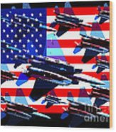 God Bless America Land Of The Free 2 Wood Print by Wingsdomain Art and Photography
