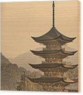 Goju-no-to Pagoda Wood Print by Karen Walzer