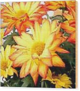 Gold And Red Autumn Mums Wood Print