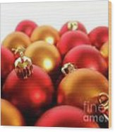 Gold And Red Xmas Balls Wood Print