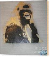 Gold Back Gorilla Wood Print