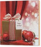 Gold Christmas Gift Box And Ornaments With Sparkle Lights  Wood Print