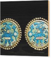 Gold Ear Ornaments, Moche Florescent Wood Print by Tony Camacho