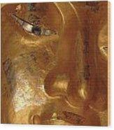 Gold Face Of Buddha Wood Print