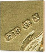 Gold Hallmarks, 1897 Wood Print by Sheila Terry