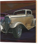 Gold Hot Rod Wood Print