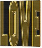 Gold Love Wood Print
