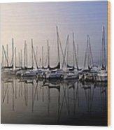 Gold N Blue Sailboats Too Wood Print