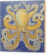 Gold Octopus In Blue Wood Print