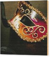 Gold Scroll Masquerade Mask Wood Print