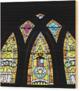 Gold Stained Glass Window Wood Print