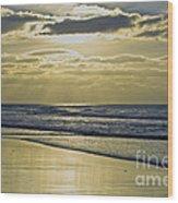 Golden Blue Wood Print
