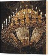 Golden Chandelier Wood Print