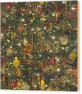 Golden Christmas Tree Wood Print