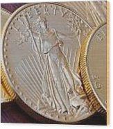 Golden Coins II Wood Print