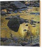 Golden Fall Reflection Wood Print