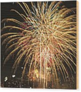 Golden Fireworks Over Minneapolis Wood Print by Heidi Hermes
