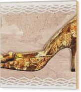 Golden Floral Royalty Shoe Wood Print