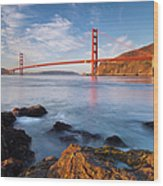 Golden Gate At Dawn Wood Print