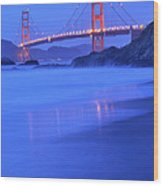 Golden Gate At Dusk Portrait Wood Print