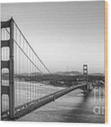 Golden Gate Black And White Wood Print