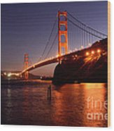 Golden Gate Bridge At Night 2 Wood Print