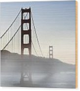 Golden Gate Bridge In Fog Wood Print